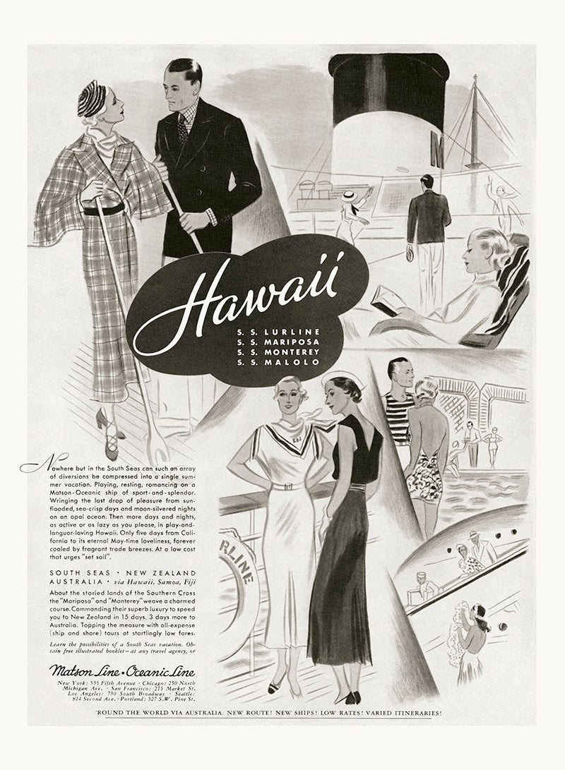 South Seas Fashion, Matson Lines Advertisement, 1934