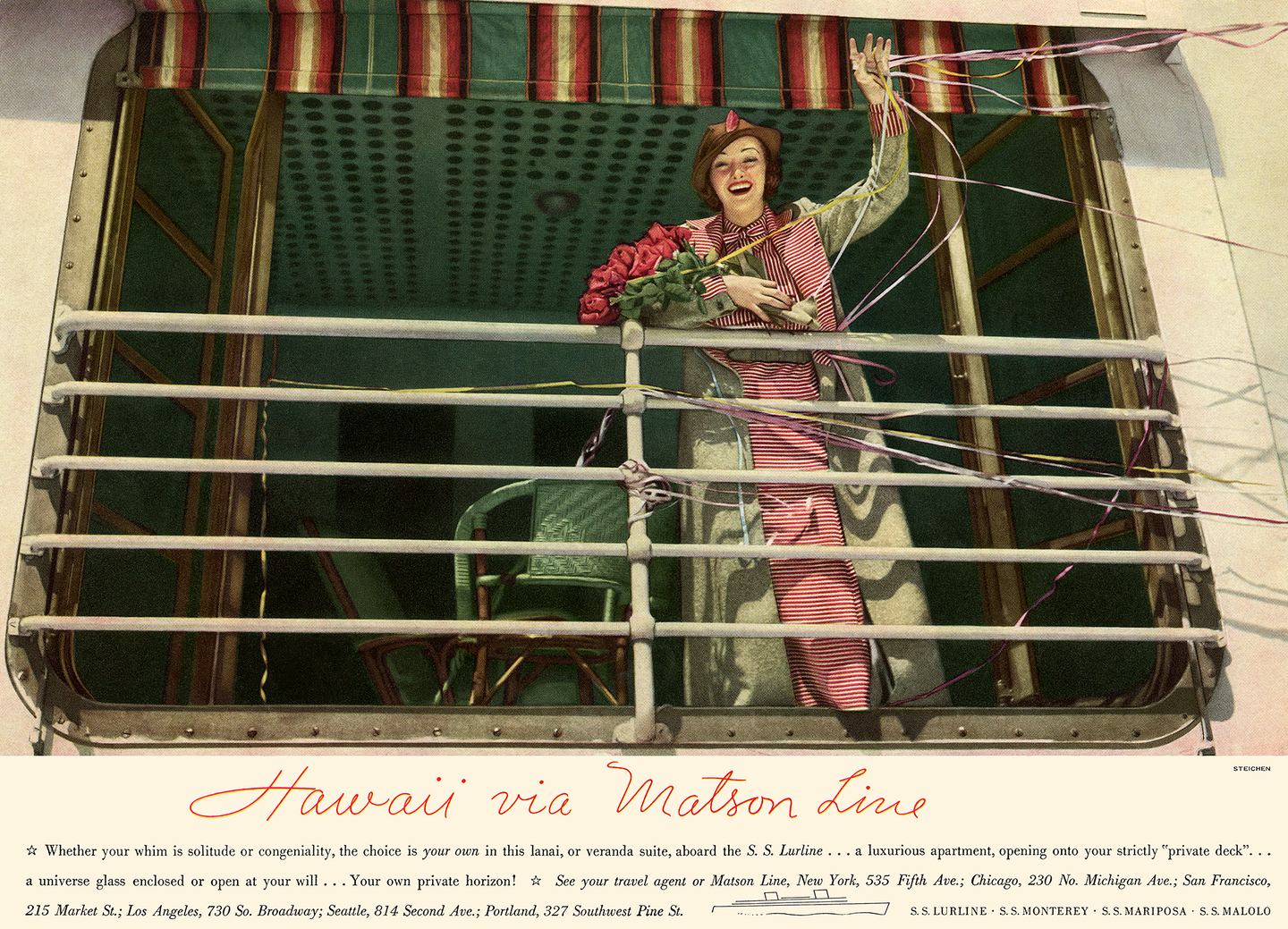 Lanai Aboard the S.S. Lurline, Matson Lines Advertisement, 1936