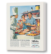 Load image into Gallery viewer, Lurline Matsonia Famous for Food, Matson Lines Advertisement, 1958