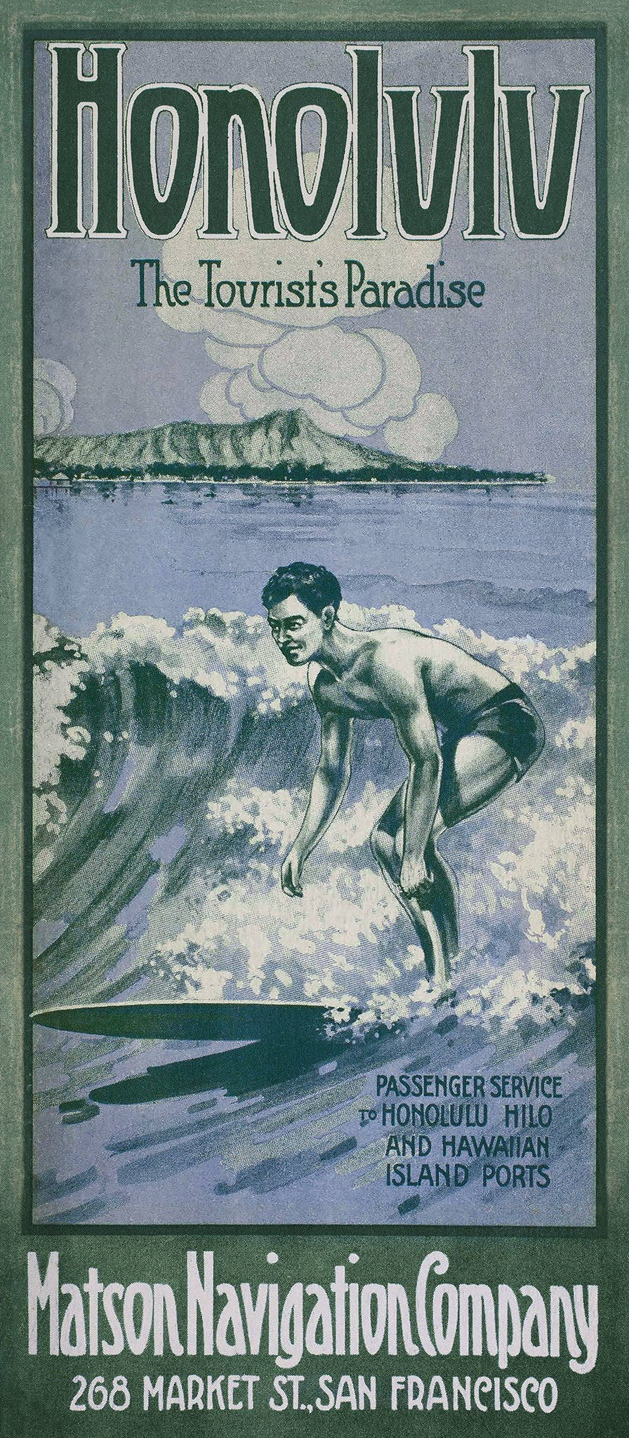 Honolulu, The Tourists Paradise, Matson Lines Brochure Cover, 1913