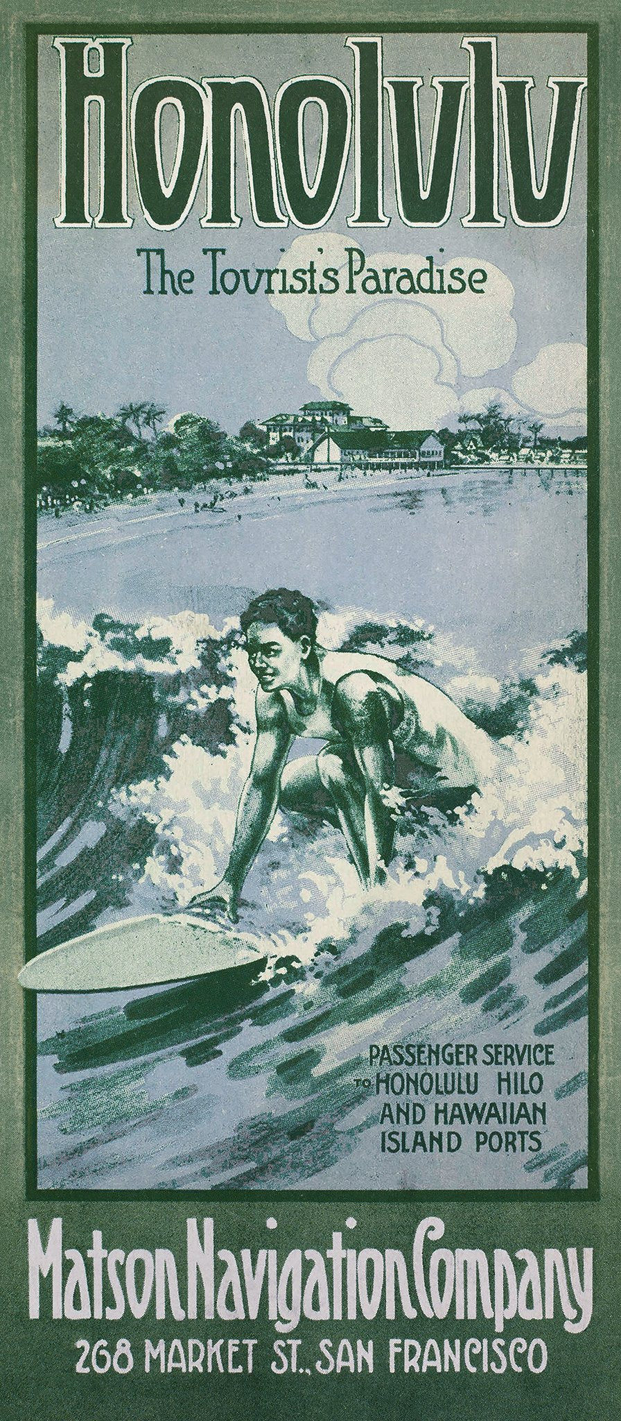 Honolulu, The Tourists Paradise, Matson Lines Brochure Back Cover, 1913