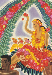 Hula and Lei, Matson Lines Menu Cover, 1930s