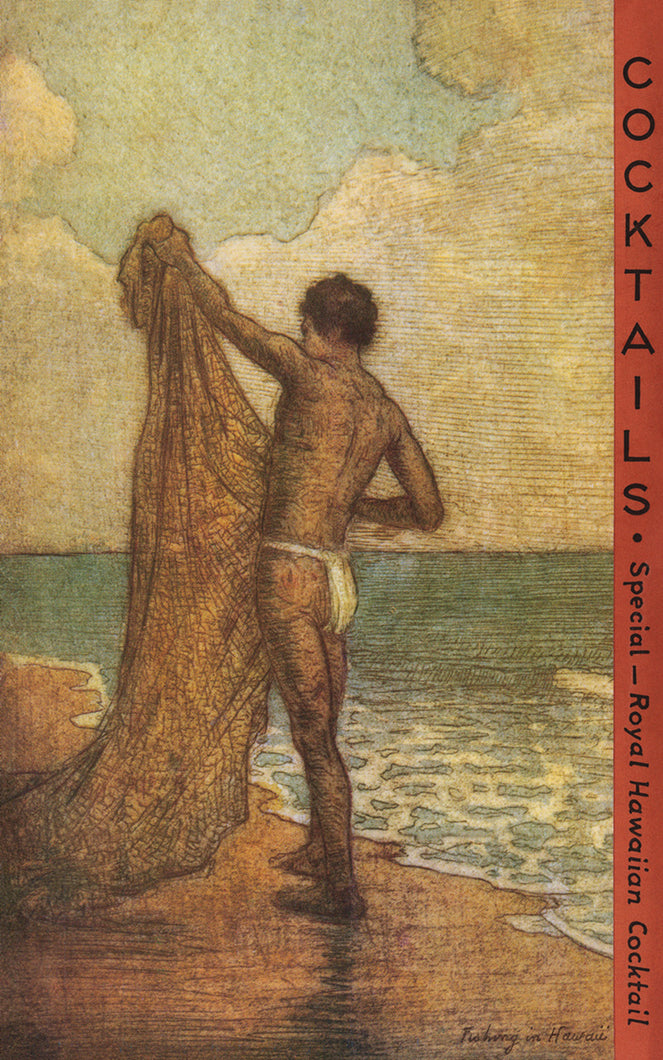 Fishing in Hawaii, Matson Lines Menu Cover, 1920s