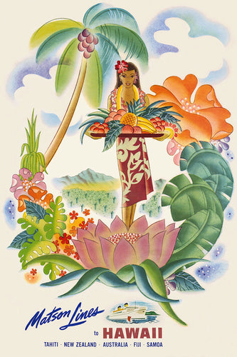 Tropical Fruit Platter, Matson Lines Hawaii Travel Poster, 1950s