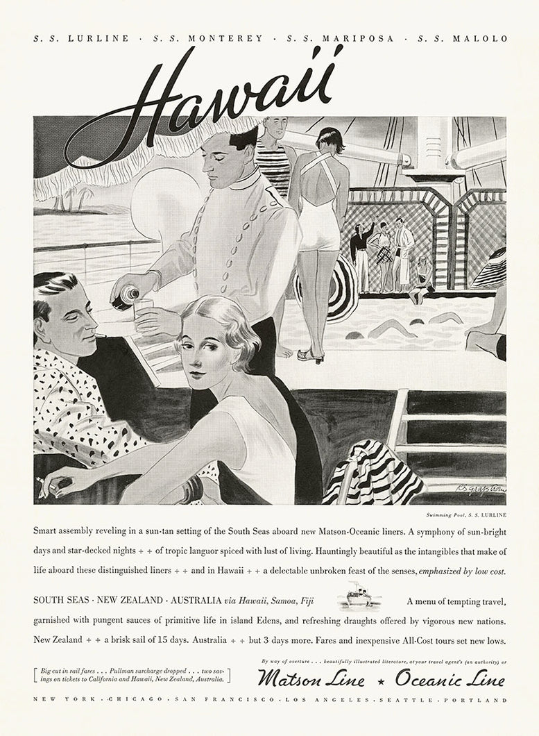 Sun Tan Setting, Matson Lines Advertisement, 1934