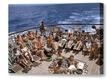 Load image into Gallery viewer, Sunbathers, S.S. Lurline, Matson Lines Photograph, 1950s