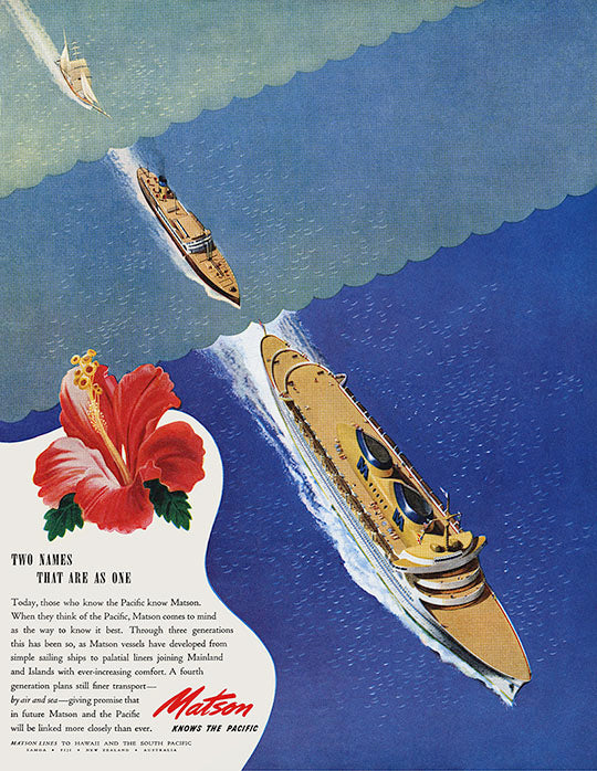 Two Names That Are As One, Matson Lines Advertisement, 1945