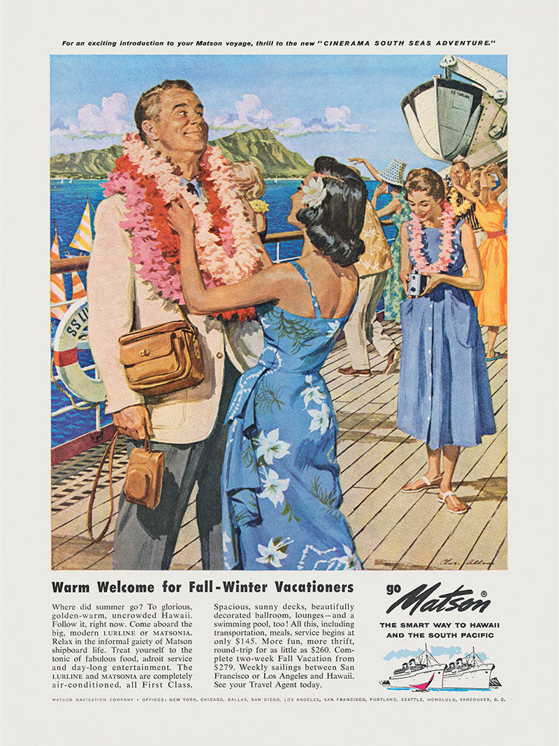 A Warm Welcome, Matson Lines Advertisement, 1958