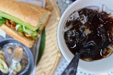 vietnamese cold brew coffee with bahn mi sandwich