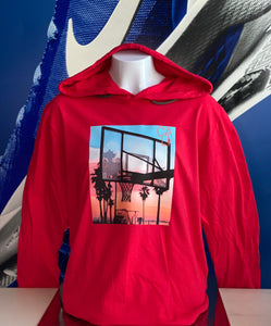 BALLIN' AT THE BEACH (CALI )HOODED L/S TEE by LABCITY