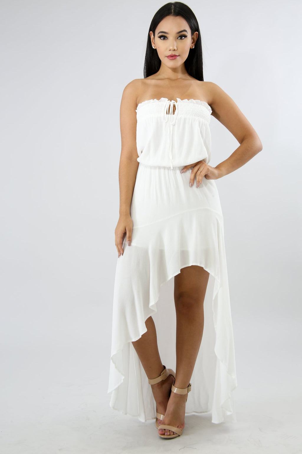 White Flowy Hi-Low Dress