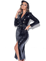 Black Sequin Overcoat