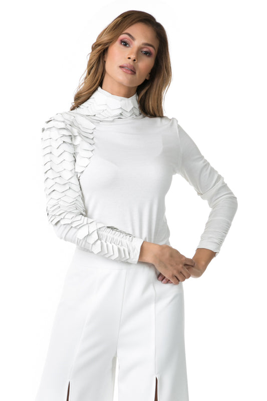 Ivory Turtleneck shirt with feather sleeve