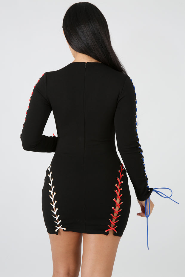 Color Strap Up Body-Con Dress