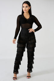 Black Fringe Jumper