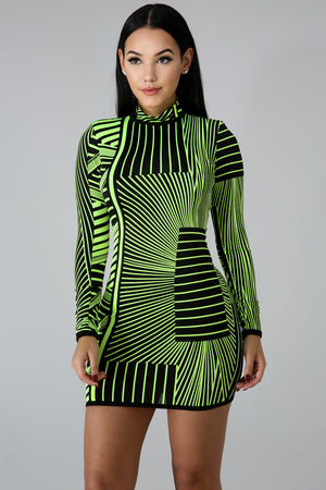 Glowing Strikes Body-Con Dress