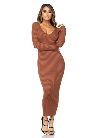 Rib Off Shoulder Midi Dress