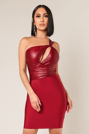 Sexy Red leather cutout bandage dress