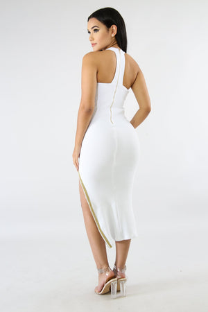 White Ribbed Goddess Dress with long zipper