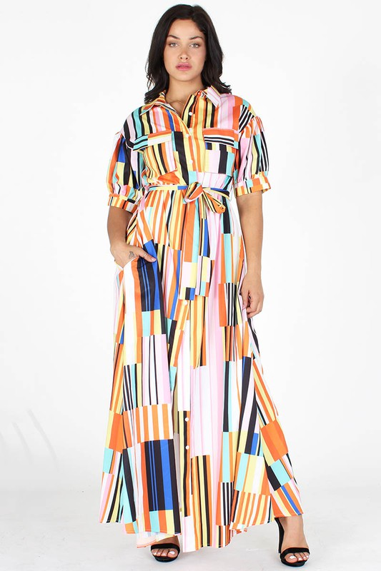 Multi-Color A-Line Dress for the Fall