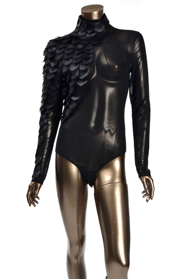 Black turtleneck bodysuit with feather sleeve