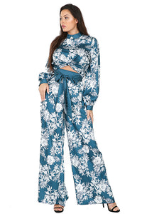 Elegant Blue Floral Pants Set