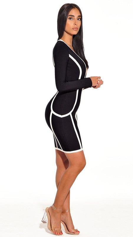 Dawson Front Zip Long Sleeve Bandage Dress