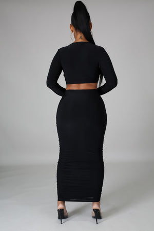 Black Cutout Long Sleeve Midi Dress