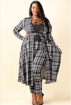 Plaid super crop long sleeve top & leggings set