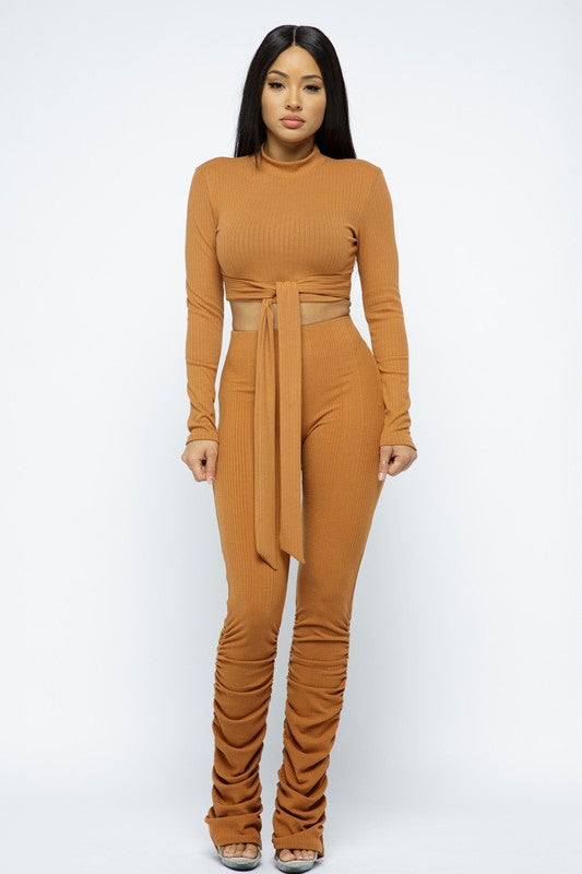 Long Slv Top Ruched Pant Set