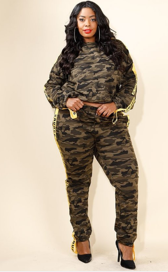 Yellow Taped camo sweat top & jogger set