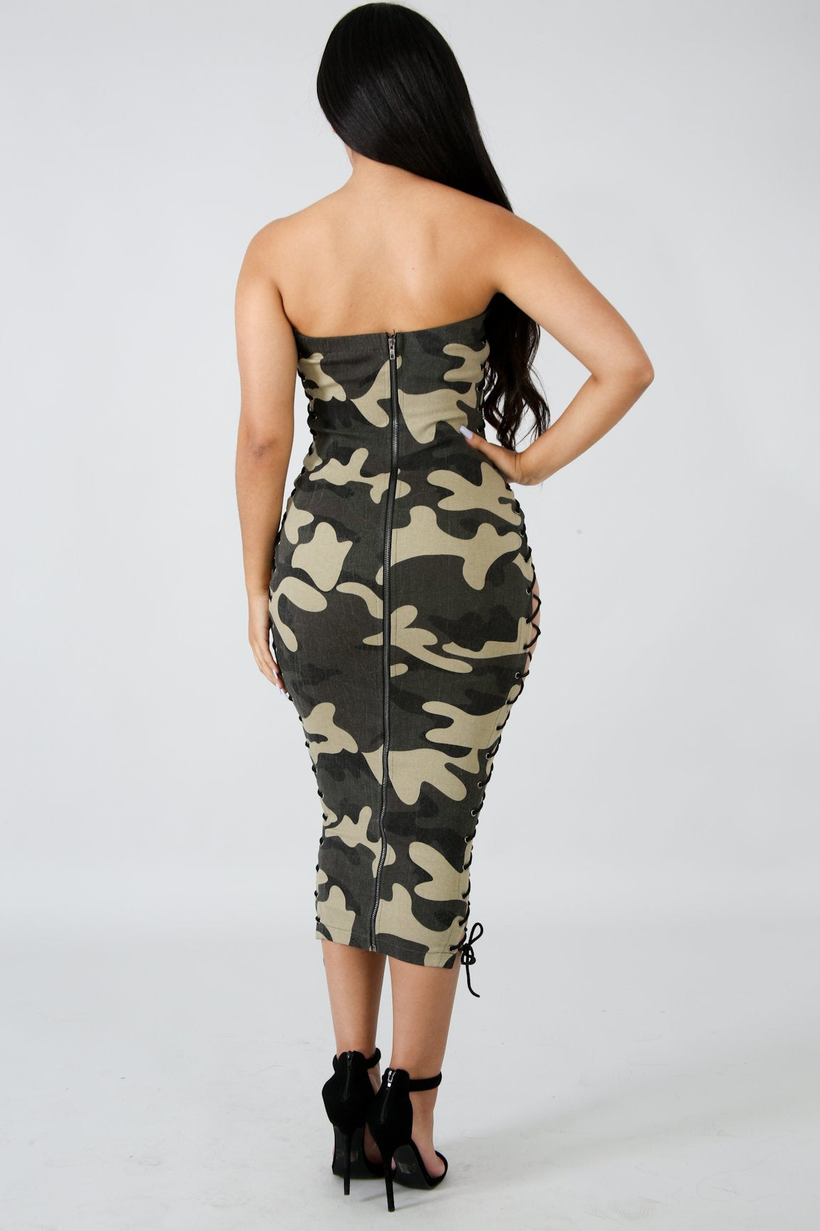 Camouflage Lace Up Midi Dress