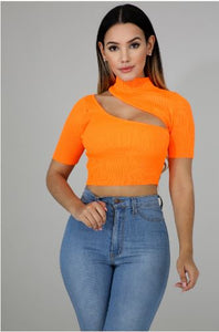 Knit Slash Crop Top - Orange