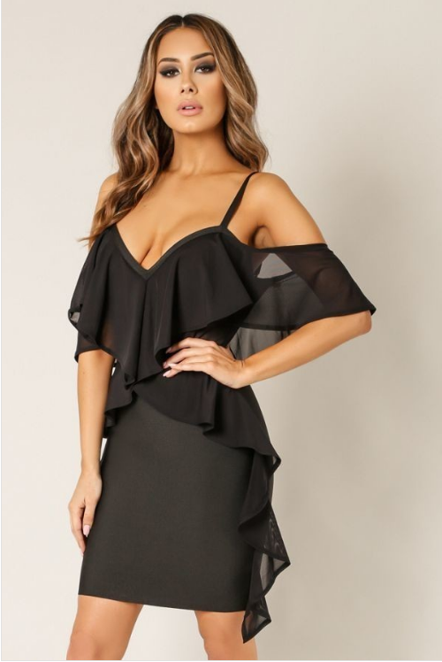 Cold Shoulder Ruffled Bandage Dress