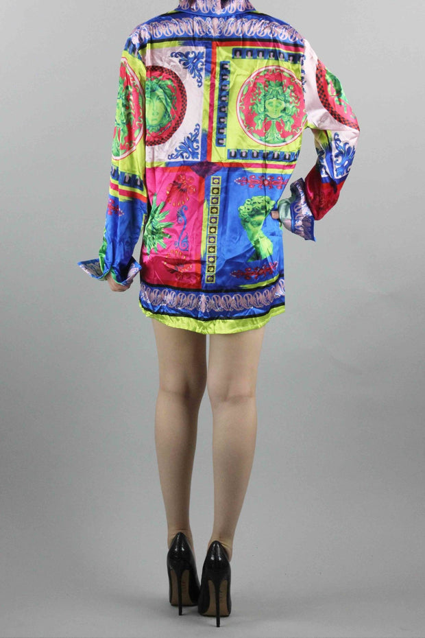 Multi-Color vintage Versace inspired print shirt dress