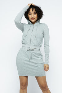 FRENCH TERRY HOOD MINI SKIRT SET