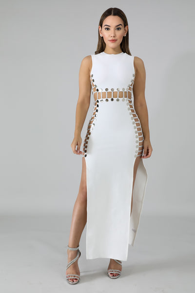 Silver Botton Maxi Dress - White