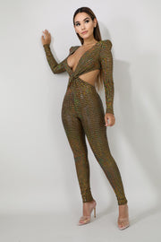 Bronze Glitter Shine Jumpsuit