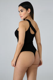 Slash Knit Bodysuit - Black