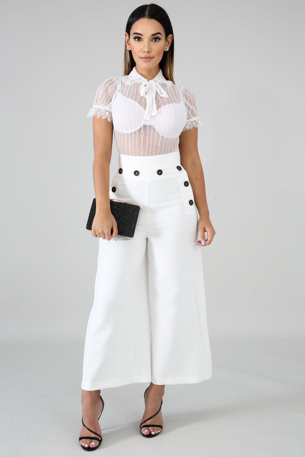 White High Waist Button Pants
