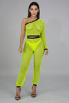 Neon Net Jogger Set - Yellow