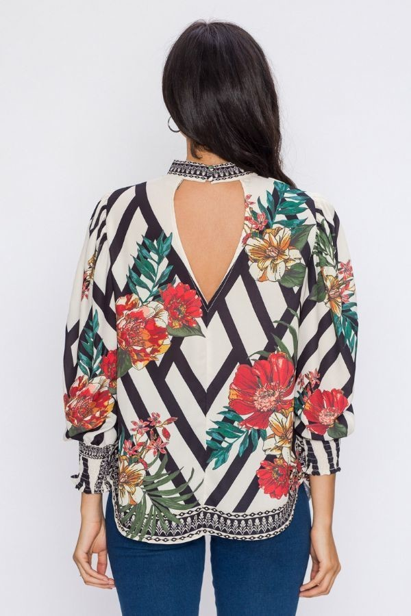 HIGH NECK TOP WITH CHEVRON AND FLORAL PRINT
