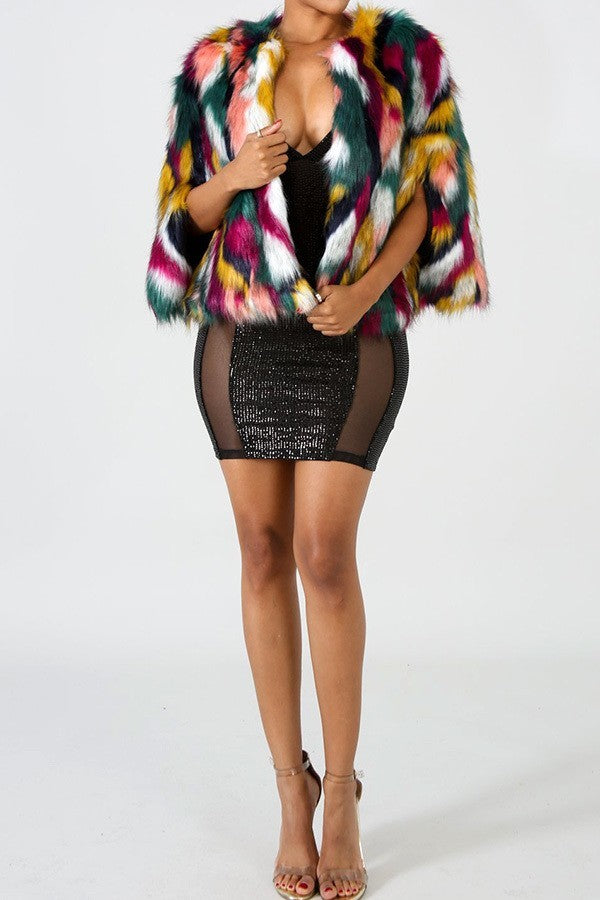 Multi Color Fur Jacket