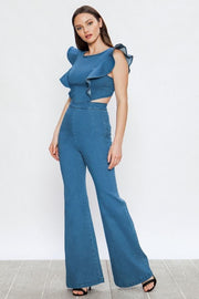 Flared stretch denim jumpsuit
