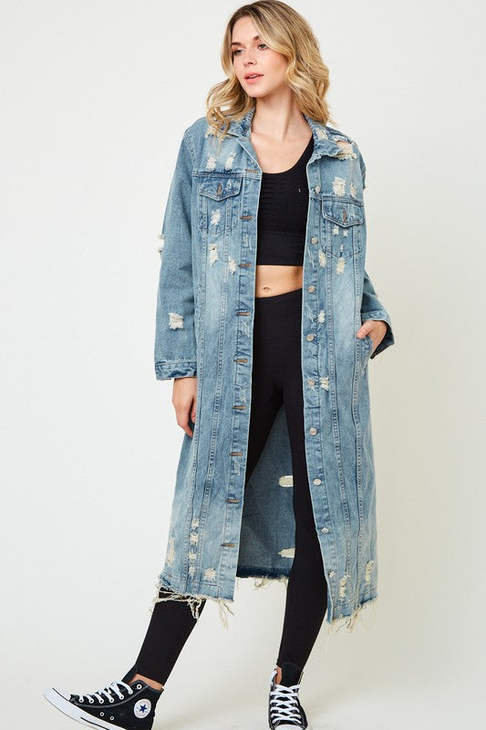 Distressed Denim Button Up Jacket