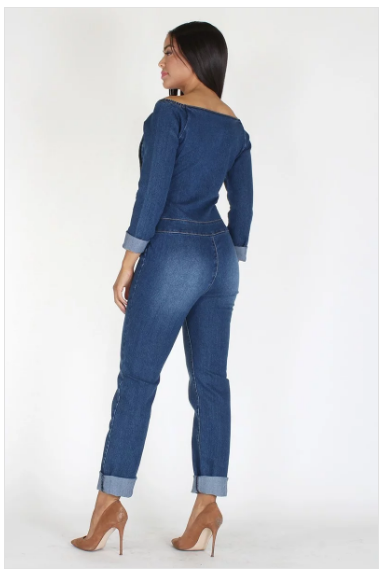 Off the Shoulder Denim Jumper
