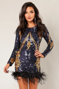 Cartier Long Slv Sequins Faux Fur finish dress