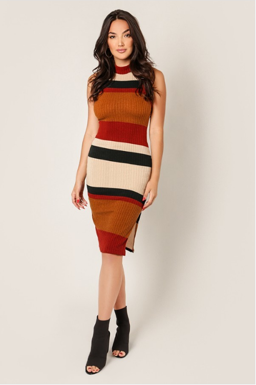 Mock neck sleeveless ribbed dress