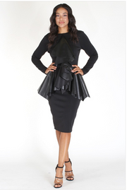 Black Bodycon Peplum with Faux Leather