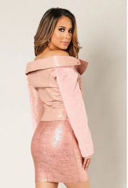 Dusty Pink Faux Leather Fur Sleeve Belted Jacket